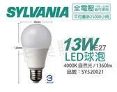 SYLVANIA喜萬年 65399TW LED 13W 4000K 自然光 E27 全電壓 球泡燈 _ SY520021