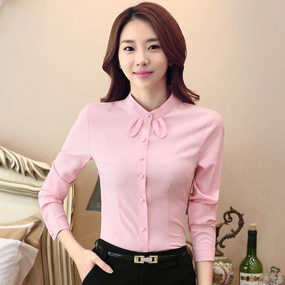 可愛小領結純色OL長袖襯衫~美之札~零碼出清不退