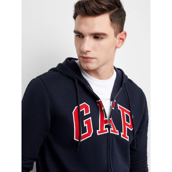 Gap男裝 Logo簡約連帽拉鏈長袖休閒外套 400683-海軍藍