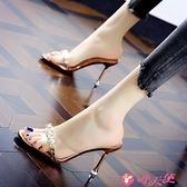 高跟拖鞋 拖鞋女水鉆透明半拖外穿涼鞋2021夏季新款時裝涼拖細跟百搭高跟鞋 小天使 99免運