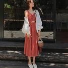 氣質女神范赫本風2021春夏季長裙法式顯瘦小個子內搭吊帶連衣裙子橙子精品