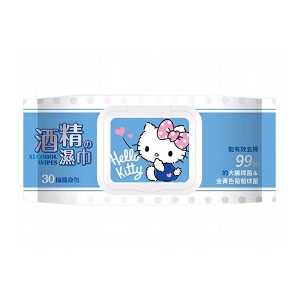 Hello Kitty 酒精濕巾(加蓋30抽)【小三美日】三麗鷗授權