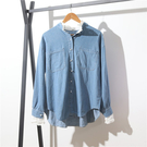 大碼長袖襯衫 大碼牛仔襯衫9347-2大碼寬松襯衫蕾絲花邊拼接立領牛仔襯衣繡花襯衫R31C日韓屋