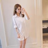 襯衫 性感 長袖中長款白襯衣 大碼打底防曬衣 BF男朋友風襯衫