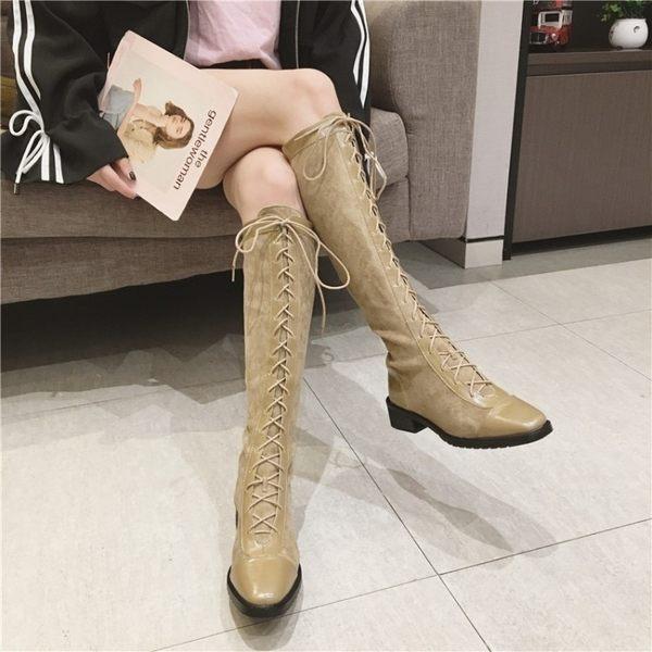 膝上靴 馬丁靴英倫風系帶秋冬新款粗跟過膝長筒靴原宿女鞋