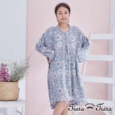【Tiara Tiara】古典繪花長短版長袖寬版洋裝(藍/黃) 漢神獨家