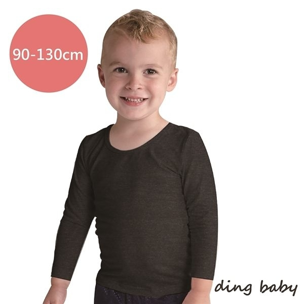 ding baby 兒童發熱衣-長袖圓領3入組-麻花黑(90-130cm) C-926862