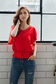 春夏↘7折[H2O]V領連袖腰部剪接腰帶頭針織上衣 - 紅/黑/白色 #8681003