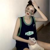 球衣 心機t恤女小眾韓版百搭學生嘻哈原宿慵懶風無袖背心籃球衣服 麗人印象 免運