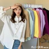 長袖襯衫 女士襯衫設計感小眾春裝2021年新款磨毛長袖上衣復古白色襯衣外套 俏girl