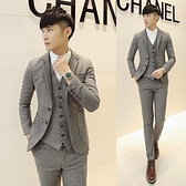 西裝套裝含西裝外套+西裝褲(三件套)-時尚單排雙扣設計男西服73hc7[時尚巴黎]