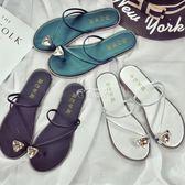 涼拖鞋女夏韓版平底水鑽夾腳時尚外穿涼鞋女士平跟沙灘鞋 俏腳丫
