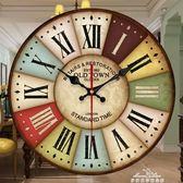 掛鐘 地中海鐘錶美式壁掛鐘客廳個性創意時尚掛錶簡約裝飾靜音復古時鐘『夢娜麗莎精品館』