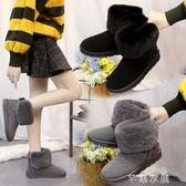蝴蝶結平底雪地靴厚底加絨短靴保暖棉鞋毛毛鞋短筒女靴子芊惠衣屋