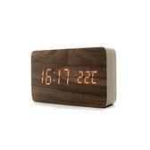 木紋LED數位電子鬧鐘 大長方形 棕