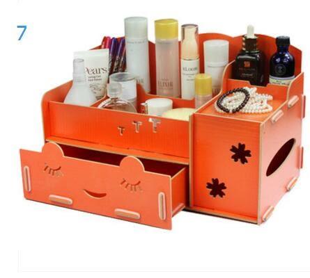 藍格子 抽屜式木質化妝品收納盒 桌面收納盒 大號帶鏡子置物架