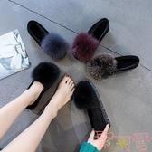 豆豆鞋女秋冬新款韓版毛毛鞋加絨平底百搭孕婦鞋【聚可愛】