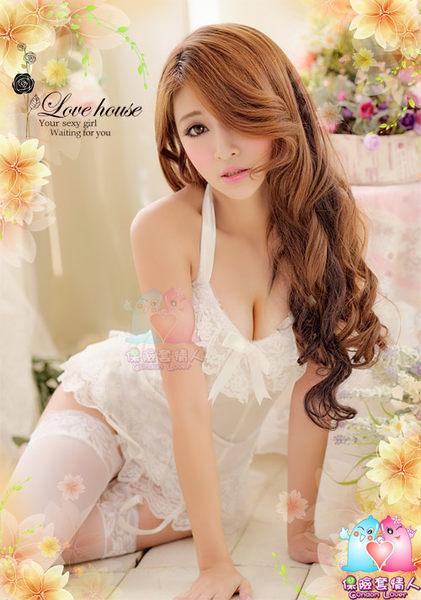 【愛愛雲端】純真天使!四件式誘惑馬甲組 性感睡衣 (白) NA09030151