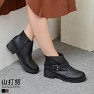 靴子 拉鍊側釦霧感皮革粗跟短靴- 山打努SANDARU【107667#46】
