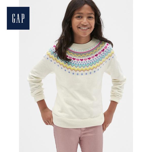 Gap女童圓領長袖套頭毛衣513495-象牙白