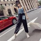 2018秋裝新款女裝韓版學院風牛仔背帶單排扣拼接高腰貼布連衣褲女