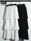長裙 鈺莎層層蛋糕裙半身裙女春夏新款裙子韓版雪紡白色百褶中長裙  維多