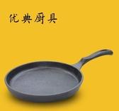 幸福居*20cm鑄鐵鍋加厚平底煎鍋無塗層烙餅煎餃煎蛋老式家用電磁爐通用(直徑20CM)