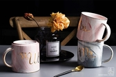 金邊大理石紋陶瓷馬克杯歐式彩色牛奶咖啡杯 ☸mousika