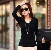 長袖 長袖T恤女上衣修身顯瘦純色百搭學生外穿打底衫新款韓版