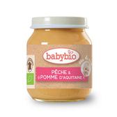 BABYBIO 有機蜜桃蘋果泥130g-法國原裝進口4個月以上嬰幼兒專屬副食品