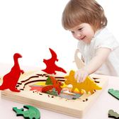 兒童早教益智多層拼圖積木質寶寶玩具tz994【歐爸生活館】