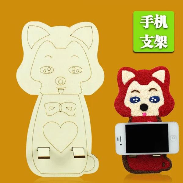 廠家直銷雪花畫兒童手工創意diy卡通木質套裝手機座益智玩具─預購CH549