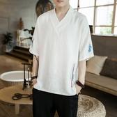 古風上衣 中國風亞麻刺繡短袖T恤男 夏季新款棉麻半袖V領上衣服胖子大碼