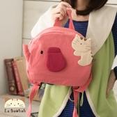 後背包~Le Baobab日系貓咪包 歡樂小象兒童後背包/手提包/拼布包包