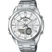 CASIO 卡西歐 10年電力 世界時間雙顯手錶-銀 AMW-810D-7A / AMW-810D-7AVDF