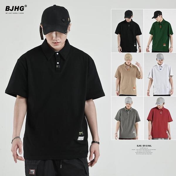 BJHG自制 夏季純色翻領短袖T恤POLO衫男日系寬鬆港風半袖