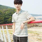 秋冬韓版寬鬆格子短袖襯衫男日系印花短袖襯衫青少年學生