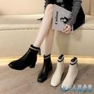 馬丁靴女 新款百搭針織粗跟短靴中跟秋冬加絨瘦瘦彈力靴 OO1240【甜心小妮童裝】