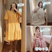 孕婦裝裙子大碼夏季喇叭袖減齡洋氣寬松遮肚連衣裙夏天【奇趣小屋】