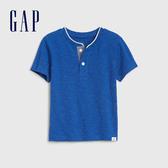 Gap男幼清爽條紋亨利領短袖T恤544958-藍色紋理