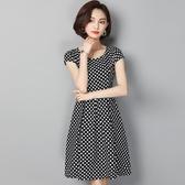 洋裝 波點大擺連身裙修身大碼中長款短袖A字裙 降價兩天