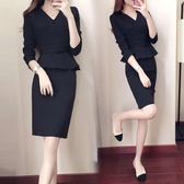 ol套裝女裝春裝v領時尚包臀職業連衣裙長袖修身顯瘦一步裙正裝    SQ13080『寶貝兒童裝』