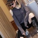 歐洲站2020秋裝新款時尚單排扣露單肩連帽修身長袖T恤女打底小衫 嬌糖小屋