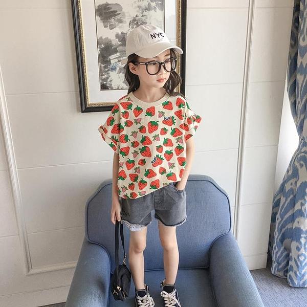 女童短袖T恤2021年夏季新款中大童韓版洋氣寬鬆草莓上衣兒童夏裝
