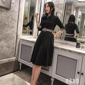 2020春季新款氣質燙鉆修身顯瘦翻領襯衫洋裝中長款a字收腰小黑裙打底連身裙LXY5096【優品良鋪】