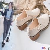 Bbay 豆豆鞋 粗跟小皮鞋女韓版百搭增高英倫風復古單鞋子