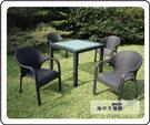 {{ 海中天休閒傢俱廣場 }} G-52 戶外時尚 編藤桌椅系列 41-2 90cm鋁藤方桌椅組(1桌4椅)