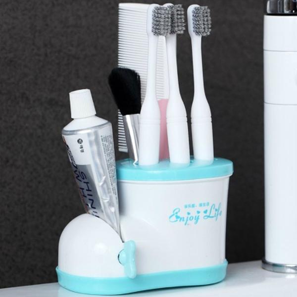 可愛收納靴浴室牙刷架鞋型牙刷座帶擠牙膏器收納座筆筒牙刷套具【庫奇小舖】