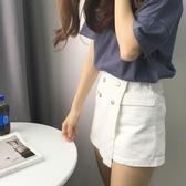 【狐狸跑跑】夏季紐扣拉鏈假口袋裙褲高腰不規則休閑短褲女3094