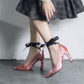 絨面絲帶粗跟高跟鞋 尖頭鞋子淺口鞋《小師妹》sm125